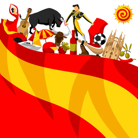 Spain background design. Spanish traditional symbols and objects. Reklamní fotografie - 77101825