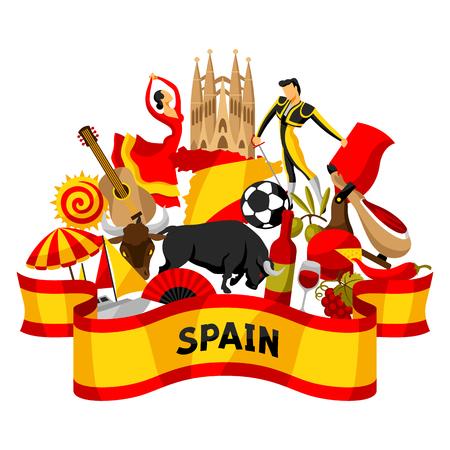 Diseño de fondo de España. Símbolos y objetos tradicionales españoles Ilustración de vector