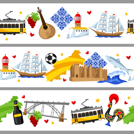 Portugal seamless borders. Portuguese national traditional symbols and objects