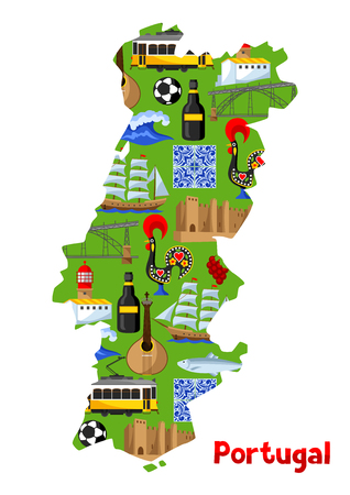 Portugal map. Portuguese national traditional symbols and objects