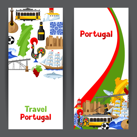 sardine: Portugal banners. Portuguese national traditional symbols and objects Illustration