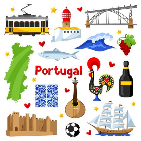 Set di icone del Portogallo. Simboli e oggetti tradizionali nazionali portoghesi