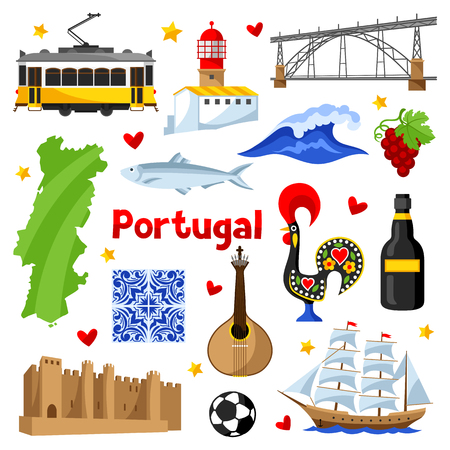 Portugal icons set. Portuguese national traditional symbols and objects