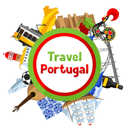 Portugal background design. Portuguese national traditional symbols and objects Illustration