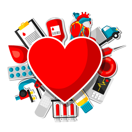 Background with blood donation items. Medical and health care sticker objects