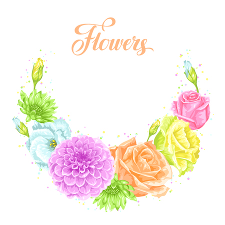 Decorative element with delicate flowers. Object for decoration wedding invitations, romantic cards Illustration