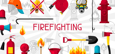 Banner met brandbestrijdingsitems. Brandbeveiligingsapparatuur