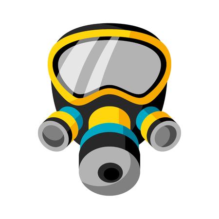 biological warfare: Illustration of respirator isolated on white background Illustration