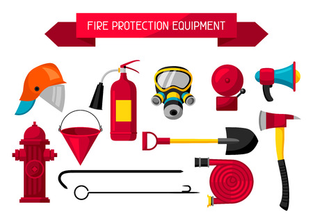 Set of firefighting items. Fire protection equipment Illustration