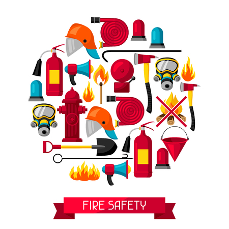 crowbar: Background with firefighting items. Fire protection equipment