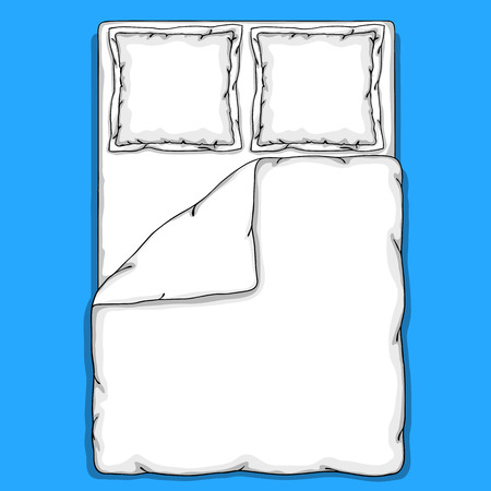 Bed linen template with pillows, duvet cover and sheet. 向量圖像