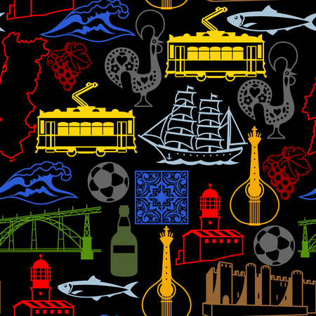 Portugal seamless pattern. Portuguese national traditional symbols and objects