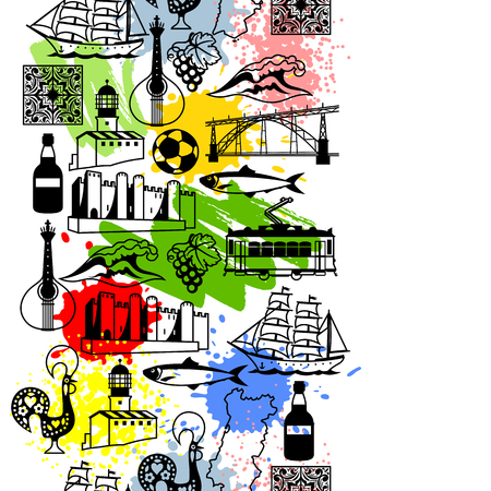 sardine: Portugal seamless pattern. Portuguese national traditional symbols and objects