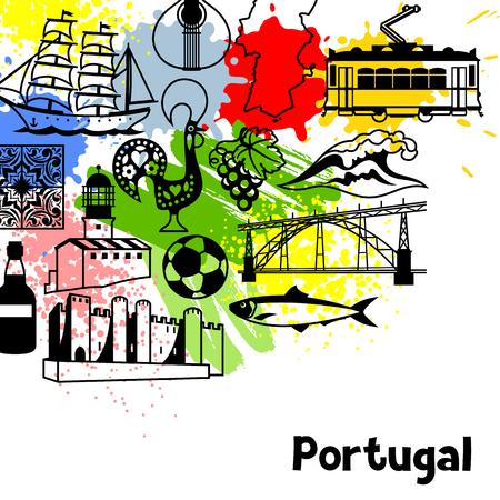 sardine: Portugal background design. Portuguese national traditional symbols and objects Illustration