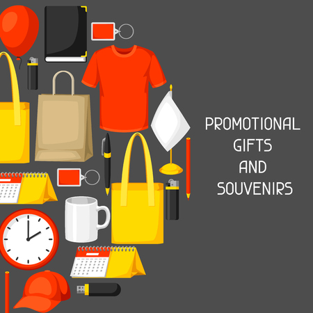 Advertising background with promotional gifts and souvenirs