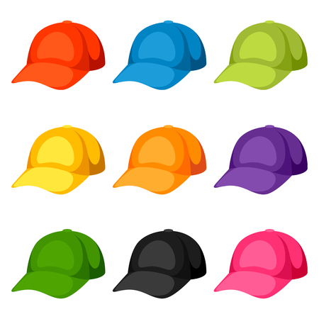 textile industry: Colored baseball caps templates. Set of promotional and advertising clothes Illustration