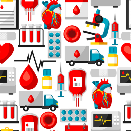 give: Seamless pattern with blood donation items. Medical and health care objects Illustration