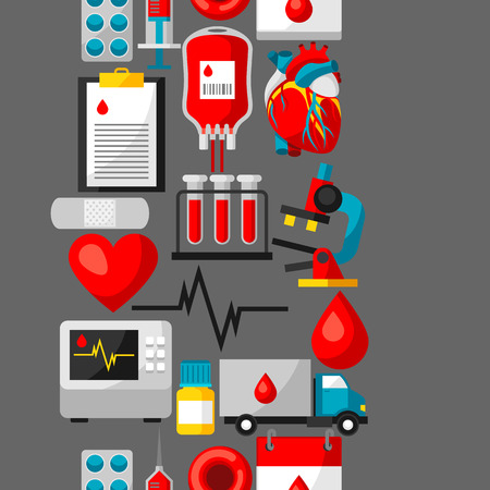 Seamless pattern with blood donation items. Medical and health care objects Illustration