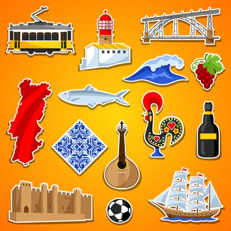 ポルトガルのステッカー セット。ポルトガル国民の伝統的なシンボルとオブジェクト
