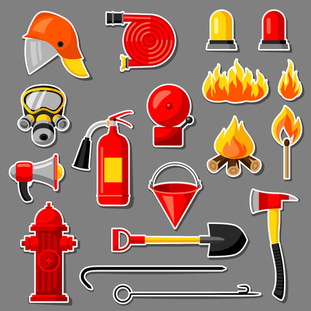 crowbar: Set of firefighting stickers. Fire protection equipment Illustration
