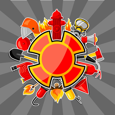 crowbar: Badge with firefighting sticker items. Fire protection equipment