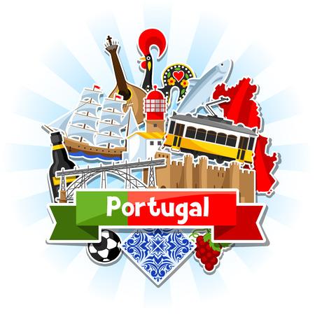 ステッカーとポルトガルの背景。ポルトガル国民の伝統的なシンボルとオブジェクト  イラスト・ベクター素材