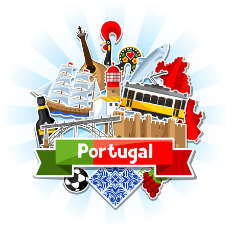 Portugal background with stickers. Portuguese national traditional symbols and objects Ilustrace