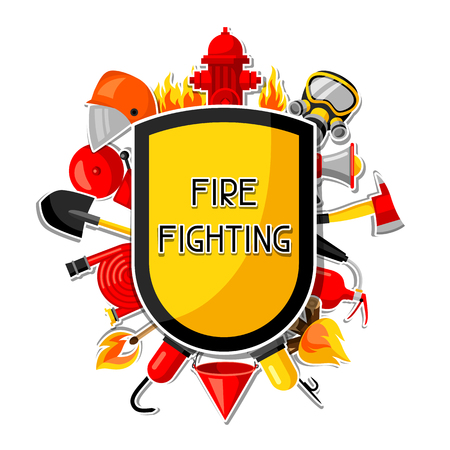 Badge with firefighting sticker items. Fire protection equipment