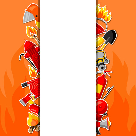 crowbar: Background with firefighting sticker items. Fire protection equipment