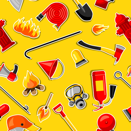 crowbar: Seamless pattern with firefighting stickers. Fire protection equipment