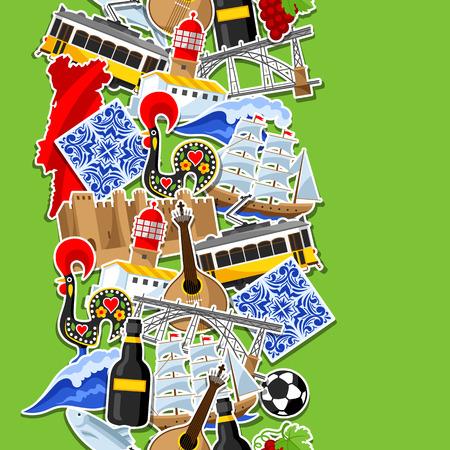 ポルトガルのステッカーとシームレスなパターン。ポルトガル国民の伝統的なシンボルとオブジェクト  イラスト・ベクター素材