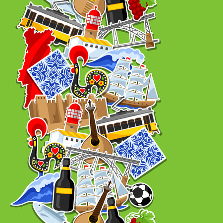 Portugal seamless pattern with stickers. Portuguese national traditional symbols and objects 版權商用圖片 - 80340986