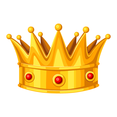 Realistic gold crown with red rubies. Illustration of award for sports or corporate competitions Illustration