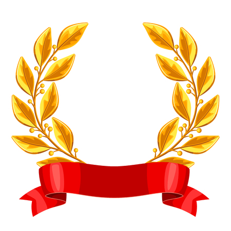 champ: Realistic gold laurel wreath with red ribbon. Illustration of award for sports or corporate competitions
