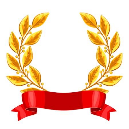 Realistischer Gold Lorbeerkranz mit rotem Band. Illustration der Auszeichnung für Sport- oder Firmenwettbewerbe Vektorgrafik