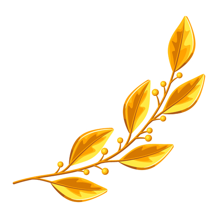 Realistic gold laurel branch. Decorative element for design
