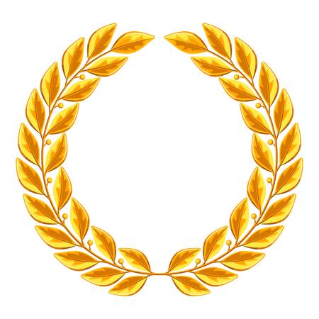 Realistic gold laurel wreath. Illustration for decoration and design Illustration