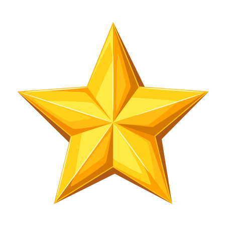 Realistic gold star. Illustration on white background