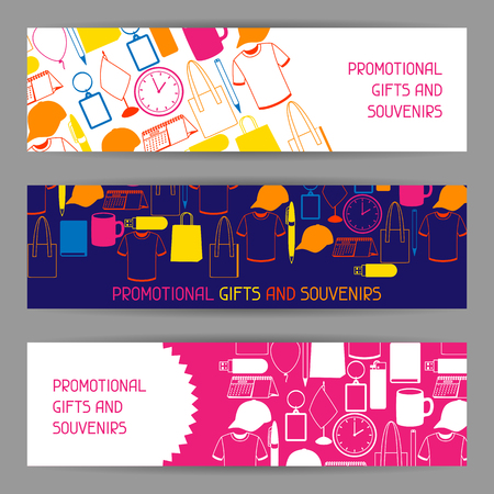Advertising banners with promotional gifts and souvenirs Vectores