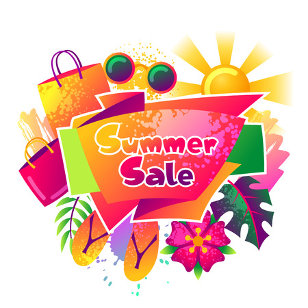 Summer sale background with colorful elements. Sun, palm leaves and shopping bags