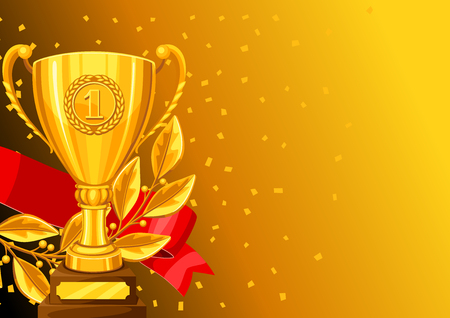 Realistic gold cup, laurel branch and ribbon. Background with place for text award for sports or corporate competitions Vektoros illusztráció