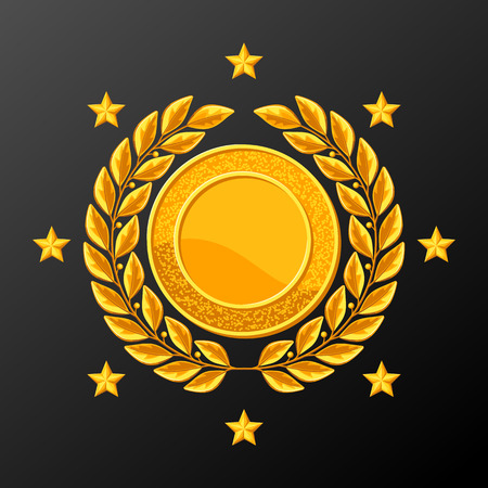 champ: Realistic gold medal with laurel wreath. Illustration of award for sports or corporate competitions