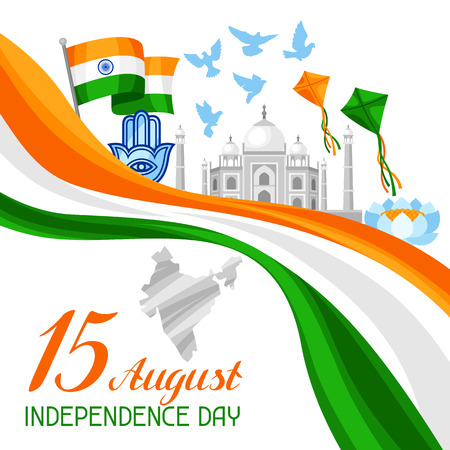 minaret: India Independence Day greeting card. Celebration 15 th of August