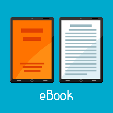 reader: E-book concept. Tablets with book. Digital library online reading