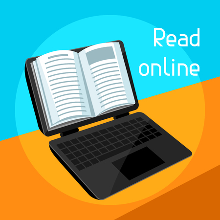 reader: Digital library concept. Laptop with open book. E-book online reading