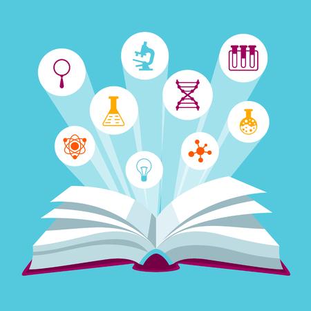 教育アイコンと開いている本 concepr。学校および教育機関の例  イラスト・ベクター素材