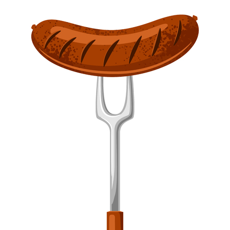 Fried sausage on the fork. Illustration for Oktoberfest.