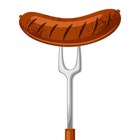 Salchicha frita en el tenedor. Ilustración para el Oktoberfest. Ilustración de vector