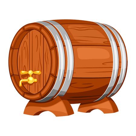 feast: Beer wooden barrel on white background. Illustration for Oktoberfest.