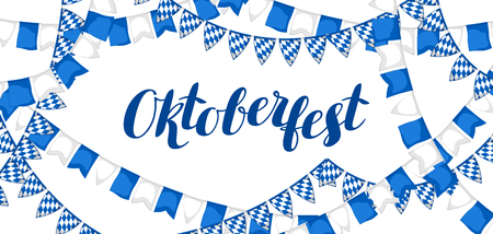 feast: Garland with flags. Oktoberfest beer festival. Banner or poster for feast